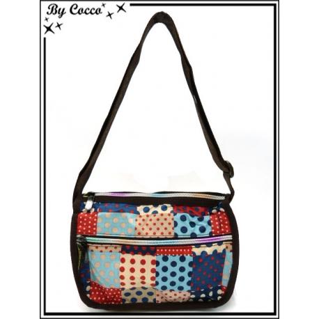 Vivi Secret 3 - Petite Besace rectangle - Poche zippée de chaque côté - 3 poches - Mélange de pois - Bleu / Rouge / Beige