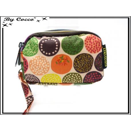 Vivi Secret 18 - Petit porte-monnaie - Fermeture Zip - 3 poches - Petits ronds - Multicolor