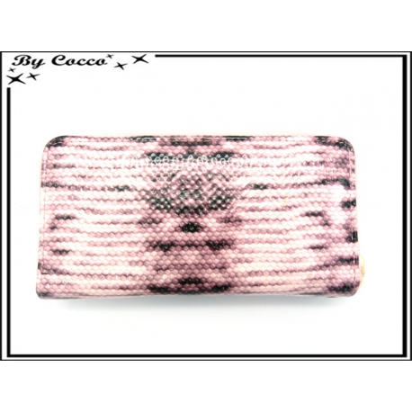 Porte-monnaie - Multi-compartiments - Ecailles - Rose / Marron