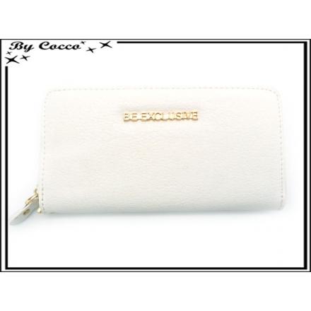 Porte-monnaie - Double compartiments - Be Exclusive - Blanc