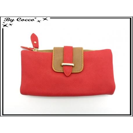 Porte-feuille + monnaie simple - Multi-compartiments détachable - Rouge / Caramel