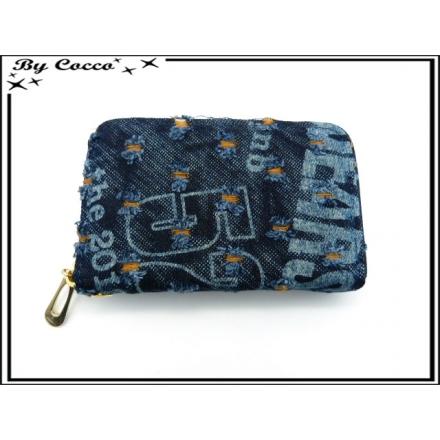 Porte-monnaie - Double compartiments - Aspect Jean - Style déchiré - Orange