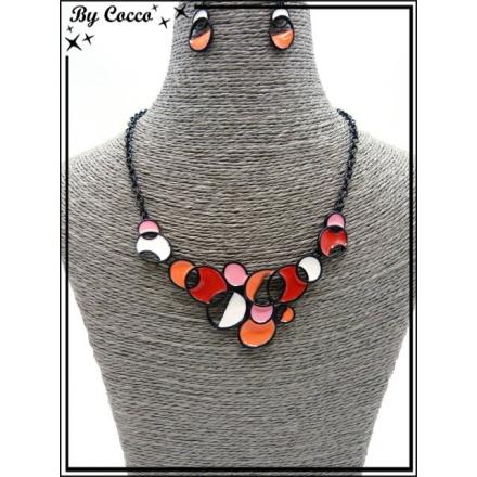 Parure - Métal noir - Petits ronds - Rouge / Corail