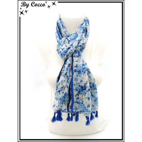 Foulard - Petites fleurs - Pompons - Tons bleus