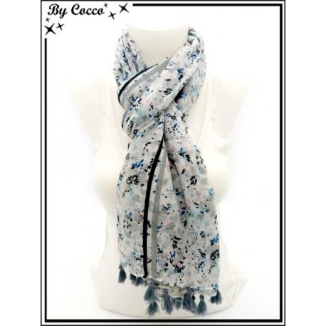 Foulard - Petites fleurs - Pompons - Fond gris