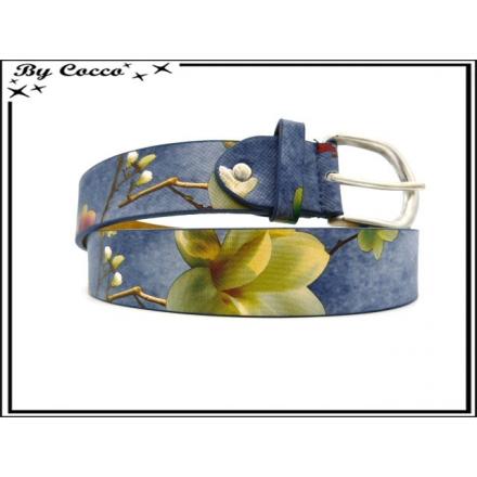 Ceinture - Texture fleurie - Grosses fleurs - Bleu marine