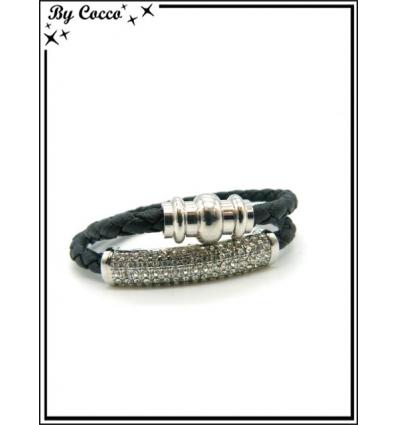 Bracelet - Multi-rangs - Strass - Argent / Noir