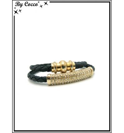 Bracelet - Multi-rangs - Strass - Doré / Noir