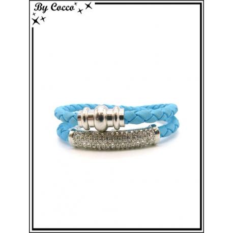 Bracelet - Multi-rangs - Strass - Bleu