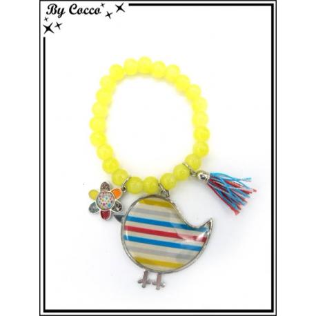 Bracelet - Perles - Oiseau - Jaune
