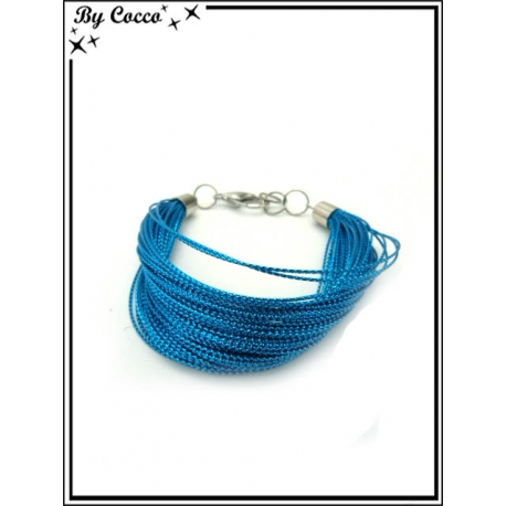 Bracelet - Multi-rangs - Fils - Bleu