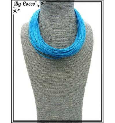 Collier - Multi-rangs - Fils - Bleu