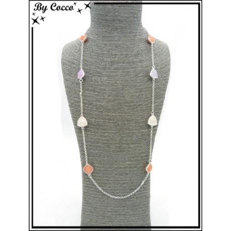 Sautoir - 6 perles - Blanc / Orange / Parme