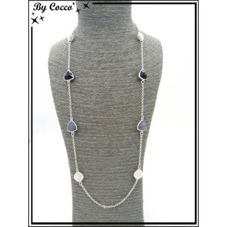 Sautoir - 6 perles - Noir / Gris / Blanc