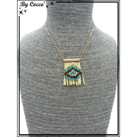 Collier - Perles - Losanges - Beige / Turquoise