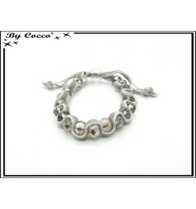 Bracelet - Perles - Velour - Gris