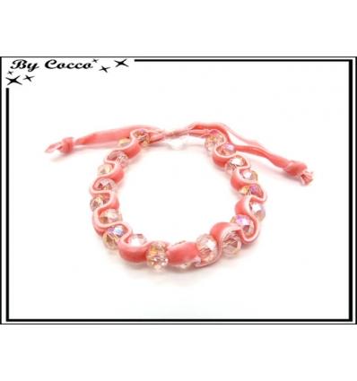 Bracelet - Perles - Velour - Rose