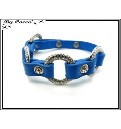 Bracelet - Anneaux strass - Bleu roi
