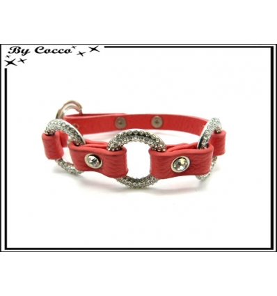 Bracelet - Anneaux strass - Rose