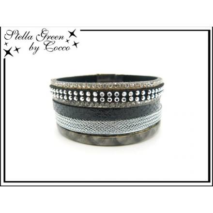Bracelet Stella Green - 4 rangs - Strass - Maille - Aspect serpent - Noir