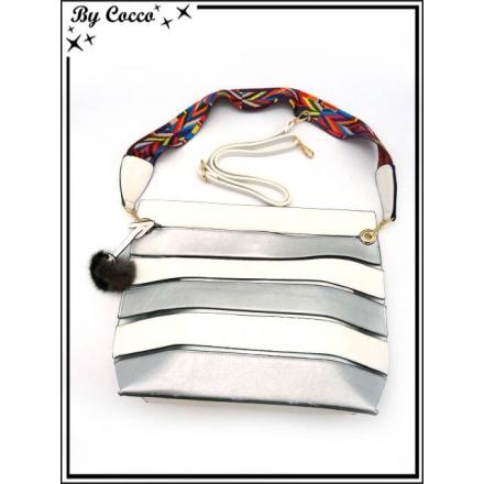 Sac à main - Grand format - Bi-color - Transparent et sa pochette intérieur - Argent / Blanc