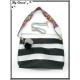 Sac à main - Grand format - Bi-color - Transparent et sa pochette intérieur - Noir / Argent