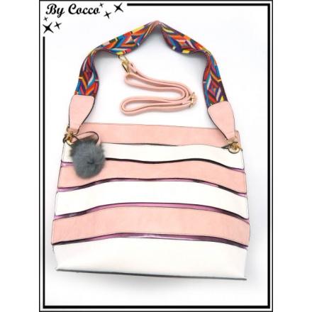 Sac à main - Grand format - Bi-color - Transparent et sa pochette intérieur - Rose / Blanc