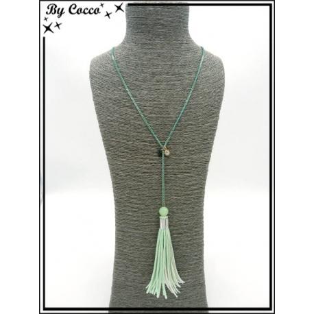 Sautoir - Perle à facettes - Pompon - Vert pastel