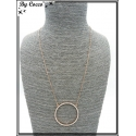 Collier - Pendentif - Rond strass - Cuivre