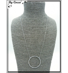 Collier - Pendentif - Rond strass - Argent