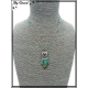 Collier - Coeur dans un rond - Perles - Vert / Rouge / Argent