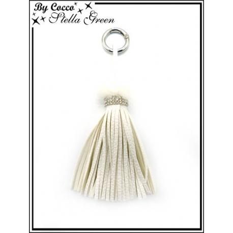 Bijoux de Sacs - Stella Green - Pompon - Strass - Franges - Blanc