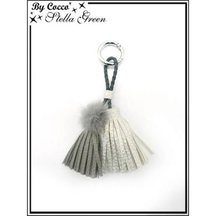 Bijoux de Sacs - Stella Green - Trois pompons - Gris / Argent