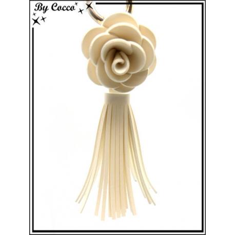 Bijoux de Sacs - Fleur - Franges - Ecru
