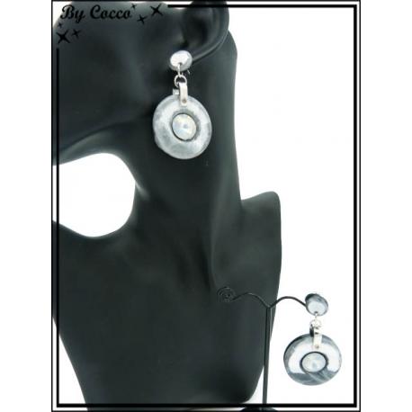 Boucles d'oreilles - Résine - Rondes - Strass - Gris