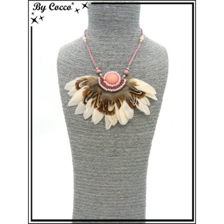 Collier - Plumes - Blanc / Corail pastel