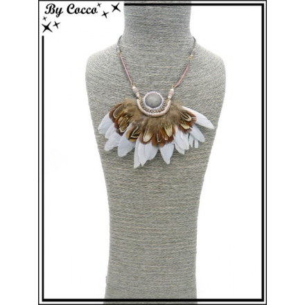 Collier - Plumes - Gris / Rose