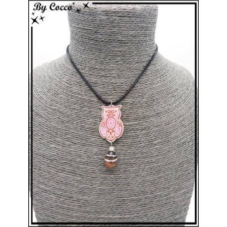 Ras de cou - Chouette - Perle - Rouge / Rose