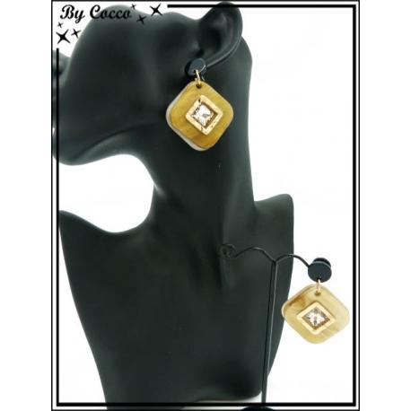 Boucles d'oreilles - Résine - Losange - Strass - Dégradé ocre