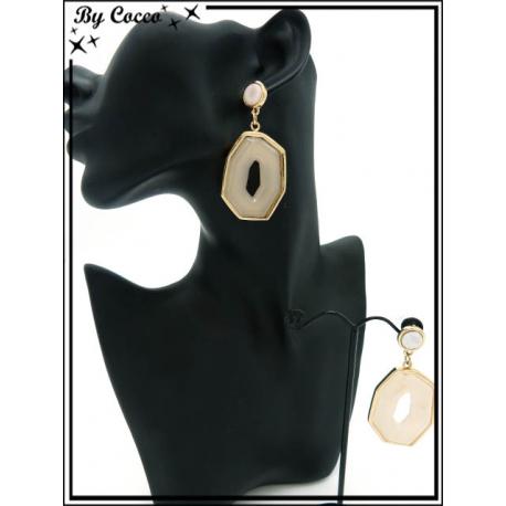 Boucles d'oreilles - Résine - Dégradé beige