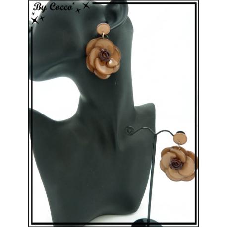 Boucles d'oreilles - Résine - Rose - Marron