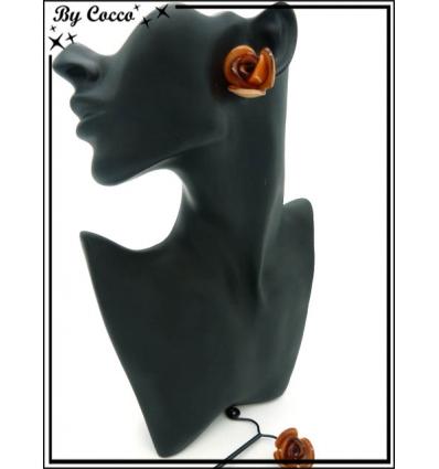 Boucles d'oreilles - Résine - Rose - Orange