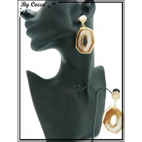Boucles d'oreilles - Résine - Dégradé ocre / beige