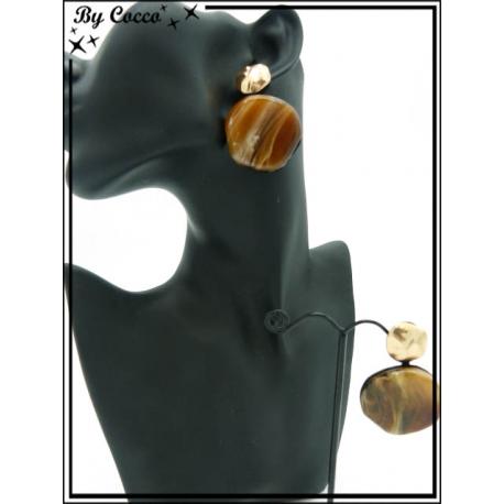 Boucles d'oreilles - Résine - Rondes - Dégradé marron