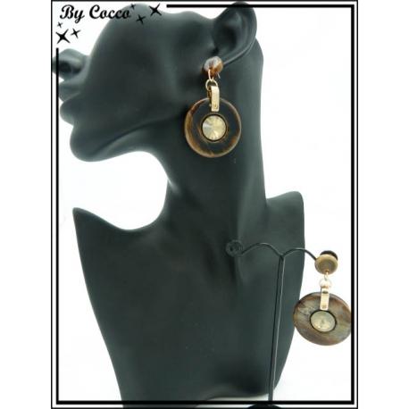 Boucles d'oreilles - Résine - Rondes - Strass - Dégradé marron