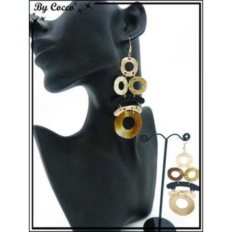 Boucles d'oreilles - Résine - Multi ronds - Dégradé ocre / beige