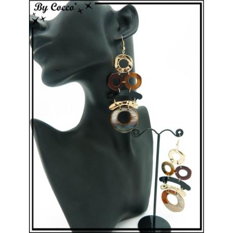 Boucles d'oreilles - Résine - Multi ronds - Dégradé marron / beige