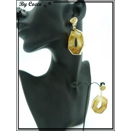 Boucles d'oreilles - Résine - Dégradé marron / beige