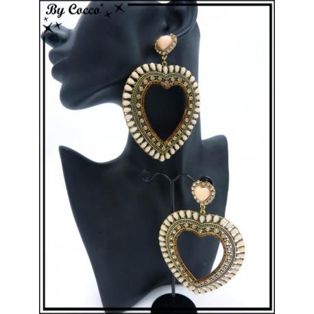 Boucles d'oreilles - Coeur - Contour perles - Marron / Orangé