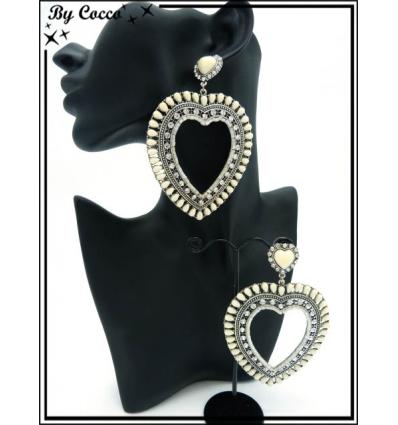 Boucles d'oreilles - Coeur - Contour perles - Beige
